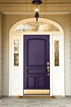 When purple is perfect it is downright majestic, you get Magetic Purple. This dark plum purple with gold accents really gives off a sense of royalty and regality. I'd imagine this door to appear almost black if the light isn't hitting it. That's why I like the metallic gold accents so much. Deep purple eggplant colored front door. SW Majestic Purpleor Beauti-Tone Direct Line 436 #frontdoor #eggplant #purple #deeppurple Purple Front Doors, Best Front Door Colors, Unique Front Doors, Best Front Doors, Front Door Paint Colors, Purple Door, Painted Front Doors, Exterior Door Colors, Exterior Doors