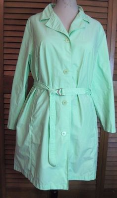 Duck Head Pastel Green XL Trench Coat Women's Unlined Lightweight Belted #DuckHead #Trench #Casual