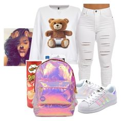 """""""Down one day with me 👫😍‼️"""" by crowned-ivy ❤ liked on Polyvore featuring Moschino, adidas Originals and Miss Selfridge"""
