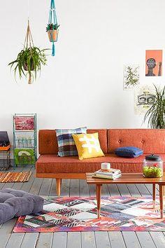 Mid Century Sofa in Orange