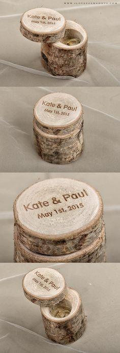 Real Wood Birch Bark Wedding Ring Box #rustic #countrywedding #barn #wood