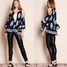 """""""Summer, Somewhere"""" Cold Shoulder Printed Top Cold shoulder printed top with feather prints. Only available in navy. Tassel front. True to size but a loose fit. Brand new. NO TRADES DON'T ASK. This is an ACTUAL PIC of the item - all photography done personally by me. Please do not use photos without permission. Bare Anthology Tops Blouses"""