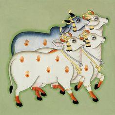 .as queridas de Deus. Pichwai Paintings, Indian Paintings, Animal Paintings, Worli Painting, Fabric Painting, Sleeping Drawing, Indian Folk Art, Madhubani Painting, Cow Art