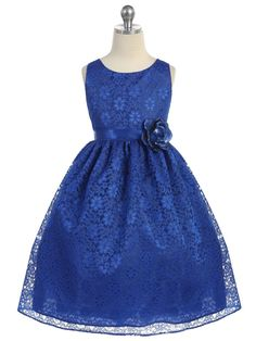 Royal Blue Lovely Floral Lace Flower Girl Dress (Available in Sizes 2-12 in 13 Colors)