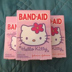 Lot of 3 Boxes Hello Kitty Band-Aid Bandages 20ct each