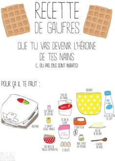 recette illustrée de gaufres maison en 10 min. Waffles! Delicious! And I can practice my french at the same time. :)