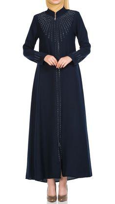 Butikzade - Damla Ferace DF-1041-02-Lacivert Hijab Fashion, Dresses With Sleeves, Long Sleeve, Abayas, Gowns With Sleeves, Street Hijab Fashion