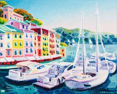 """ATHOS FACCINCANI (Peschiera del Garda 1951) OLIO su tela """"Portofino di prima mattina"""", firmato in basso a destra e sul retro (con autentica dell'artista su foto)."""