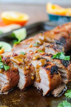 Grilled Pork Tenderloin with Peanut-Lime Sauce - The Food Charlatan Grilling Recipes, Pork Recipes, Cooking Recipes, Healthy Recipes, Game Recipes, Chicken Recipes, Healthy Food, Marinated Pork, Grilled Pork