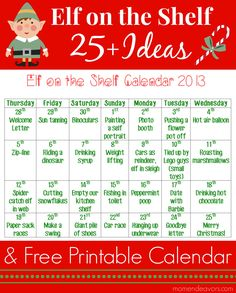 MomEndeavors: Elf Ideas with Printable Calendar Elf On The Shelf, The Elf, Free Printable Calendar, Free Printables, Welcome Letters, Christmas Preparation, List Of Activities, Letter Balloons, Christmas Elf