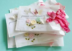 Danielle Flanders great birthday party invites using glassine bags as envelopes (not mailable)
