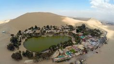 The Huacachina Oasis in Ica, Peru, some 300 km south of Lima, one of Ica's main attractions, located just 5 km from the departamental capital.