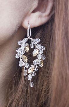 Amber wedding earring Champagne bridal accessory Crystal | Etsy