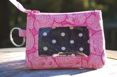 ID Wallet,Keychain Wallet,ID Holder,Zip ID Wallet,Optional Wrist Strap,made with Barbie fabric - pinned by pin4etsy.com