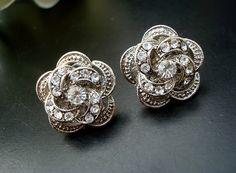 Bridal Wedding Earrings,Wedding Earrings,Vintage Weddings Earrings,Wedding Jewelry,Bridal Party,Vintage Style Earring,Stud,Rose, ROSELANI