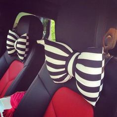 Black white Stripe bowknot Car Neck Pillow girls gift 19x26cm 2 pcs