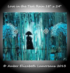 Large Original Surreal Painting Love in the by PaintedRainGallery, $150.00