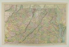 Old Virginia Map West Virginia, Indiana Map Ohio 1900 Vintage Map, US State Travel Map Antique Wall Map, Antique Art Gift, Old Color Map available from OldMapsandPrints on Etsy
