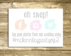 Wedding Hashtag Sign, Digital Printable, Reception Sign, Custom Instagram Sign, Oh Snap Sign, Watercolor Wedding on Etsy, $7.00