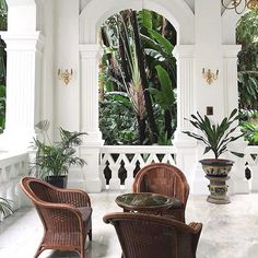 TGIF 😃 Are you planning a getaway this weekend? I would certainly love to be at Raffles Hotel Singapore Wicker chairs Plants White walls
