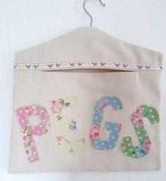 Handmade Cotton Applique Peg Bag by GoodGirlDesigns on Etsy, £12.00