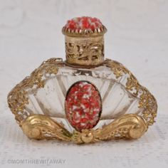Divine ART DECO Mini RED Floral CZECH GLASS PERFUME Bottle FILIGREE Cabs Dauber