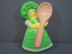 Vintage Spoon Rest Doll In Bonnet Spoon Rest Looks Like Corn, Green, Yellow 1986 #spoonrest #vintage #ebay