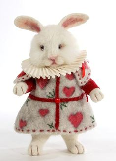 Jack, rabbit of hearts ~     Needle felted white rabbit from Alice in Wonderland. ~ by Stevi T's Alpaca Encounters