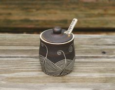 *decoration of note*   Ceramic Honey Jar, Sugar Bowl, Fern Carving, Spoon Included on Etsy, $43.96 AUD