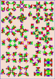 Puzzelen met ronde en vierkante tangrams - Vierkante tangram - Pagina KV12