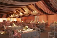 tent and chandeliers