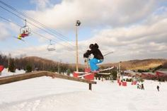 Snowboarding at Bear Creek mountain resort. pennsylvania