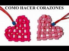 Como hacer un corazón de perlitas de hama beads, abalorios, chaquiras e hilos scoubidou - YouTube