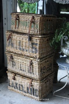 WONDERFUL......english wicker baskets....for happily capturing my overflow of FRENCH linens.....