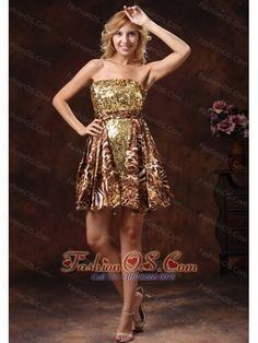 Brown Wholesale A-line Leopard Sequins 2013 Prom Cocktail Dress Mini-length  http://www.fashionos.com  This leopard dress is the answer. The mini length leopard prom dress features a strapless neckline and the bodice also adorned by sequins. The tiered little skirt could be dressed up or down as much as you would like. A zipper up closure ensures a perfect fit every time.