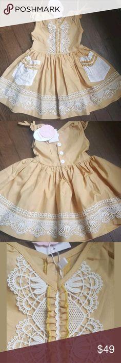 5af98e888 NWT Dollcake Fashion Mustard Ethnic DRESS boho ♡ Dollcake NWT Mustard &  white embroidery dress front