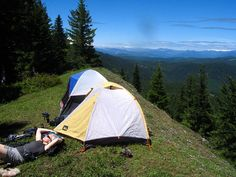 Camping on a ridge just below the summit of Observation Peak in the Trapper Creek Wilderness