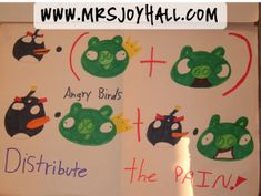 Detailed instructions on how to teach the Distributive Property of Multiplication using the popular Angry Birds game.  Incorporate art into math class!  Joy of Teaching - www.mrsjoyhall.com