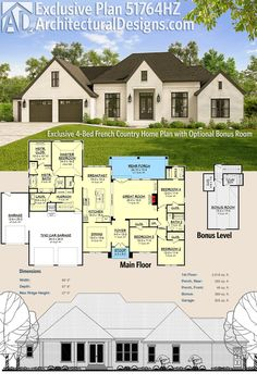 Architectural Designs Exclusive French Country Home Plan 51764HZ gives you 4 bedrooms and over 2,600 square feet of heated living space PLUS almost 400 more square feet of usable space over the garage. Ready when you are. Where do YOU want to build?