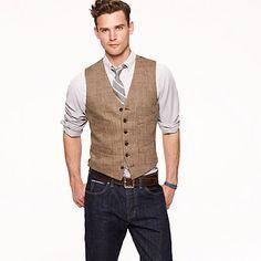 Linen herringbone suit vest  $125.00 J CREW