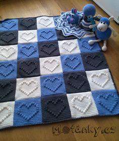 Háčkovaná deka ze čtverců se srdíčky, Motánky Crochet Bobble Blanket, Baby Cardigan Knitting Pattern, Crochet Bedspread, Granny Square Crochet Pattern, Crochet Pillow, Crochet Blanket Patterns, Crochet Doilies, Baby Knitting, Crochet Bebe