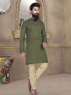 Shop Olive plain kurta suit online from India. Pakistani Mens Kurta, Punjabi Kurta Pajama Men, Kurta Men, India Fashion Men, Nigerian Men Fashion, Indian Men Fashion, Men's Fashion, Gents Kurta Design, Boys Kurta Design