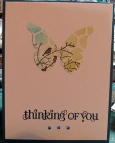 Memory Box stencil and butterfly.  SU stamps.