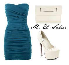 Talon haut blanc et petite sacoche avec une belle petite robe bleu