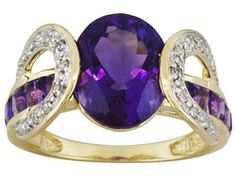 3.25ct Uruguayan Amethyst With 1.00ctw African Amethyst And .09ctw Diamond Accent 10k Gold Ring, 249.99