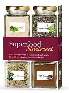 Diese Box mit 4 Gläsern Superfoods und passenden Rezepten ist ein schönes Geschenk für Veganer, Hobbyköche, Köche und alle die gerne kochen.