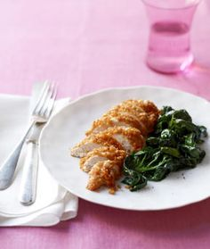 This dish uses simple and healthy yogurt to bind crisp rice cereal to the chicken—which is also terrific served as strips or nuggets for dunking. Oven Crispy Chicken, Crispy Chicken Recipes, Fried Chicken, Chicken Rice, Healthy Yogurt, Sauteed Spinach, Cereal Recipes, Good Food, Fun Food