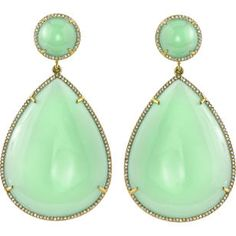 Mint Chrysoprase & Diamond Pear-Shaped Earrings--- you practically wouldn't need to wear anything else!