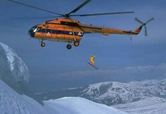 Rocking photo of some Russian heli-skiing from back in the days.