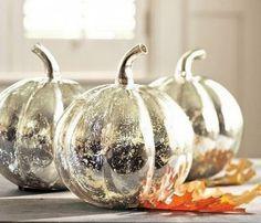 Silver glass pumpkins
